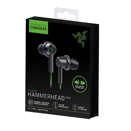 هدست بازی ریزر مدل Razer Hammerhead Duo For Consoles Green